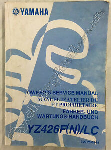 Yamaha YZ426F 2001 Genuine Service Manual Part No 5JG-28199-81
