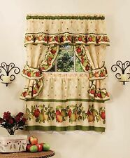 "APPLE ORCHARD- COMPLETE KITCHEN CURTAIN SET- 36"" long  WINDOW CURTAIN/FRUITS"