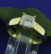 1.02 ct 18k Solid Yellow Gold Natural Diamond Solitaire Ring Princess Cut  USA