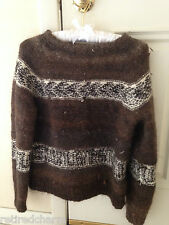 ❤FuNkY One-Of-A-Kink Brown Wool Sweater Handmade Peruvian Knit Small 6-8 Unique❤