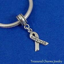 .925 Sterling Silver Cancer SURVIVOR Awareness Ribbon EUROPEAN Dangle Bead CHARM