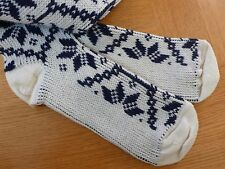 NEW Alpine KNEE-HIGH WOOL SOCKS Off-White/Navy Snowflake 11-13 Unisex Ski X-mas