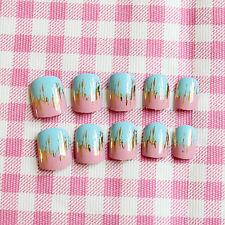 Pink Blue Ice cream Metal Fake Nails 24Pcs Short Nail Art for teens Acrylic Nail