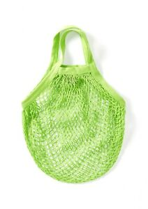 Green String/Net/Mesh Eco Friendly Bag, recycled unbleached cotton,Short Handles