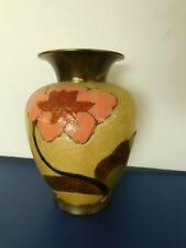 Solid Brass Cloisonne Vase Hand Painted