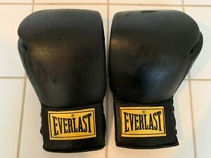 CLASSIC EVERLAST BLACK BOXING GLOVES - 14 OZ - NICE CONDITION