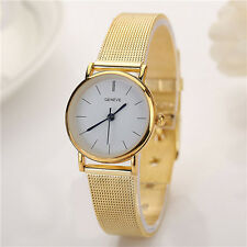 Elegant Business Geneve Stick Dial Gold Stainless Steel Womens Wrist Watch Boxed