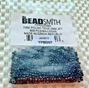 BEADSMITH FIRE POLISHED TRUE 2mm JET CZECH GLASS BEADS 600pcs. *3* JMTV YPBD07
