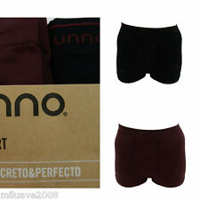 PACK 2 BOXERS TRUNKS SEAMLES  SIN COSTURAS ALGODÓN 40% UNNO NEGRO-GRANATE