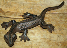 Lot of 2 Cast Iron Brown Lizard Garden Statue Gecko Western Ranch Home Decor