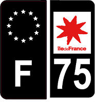 4 Autocollants 2 paires Stickers style Auto Plaque Black Edition noir F+ 75