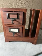 Pottery Barn Classic Wooden Desk Accessories Mail Slots 2 Drawers For Stamps Etc
