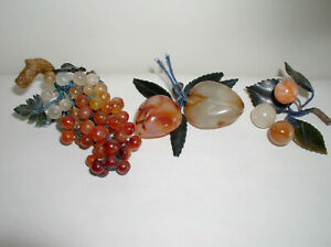 Vintage Chinese Carnelian Jade Fruit 3 Bunches Currants Grapes Peaches Carved