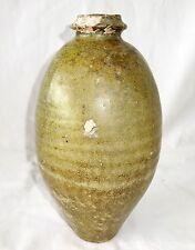 12CT Chinese Song Yuen Green Glaze Heavy Stoneware Storage Jar (Geo)
