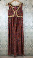 Vintage Arkay for Bergdorf Goodman Red Gold Trim Floral Pleated Midi Dress M