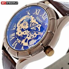 Luxury Men Roman Stainless Skeleton Dial Automatic Mechanical Wrist Watch New