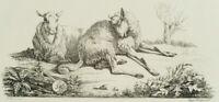 WINTER; Zwei ruhende Schafe auf der Weide, 19. Jh., Lithographie