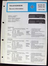 Telefunken gavotte 401 jubilate 501- Stromlaufplan Service Manual Techn.Daten