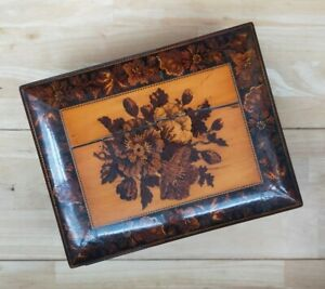 Antique Tunbridge Ware Rectangular Box With Hinged Lid