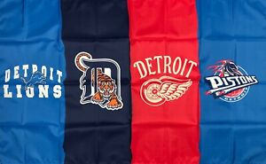 Detroit Lions Red Wings Tigers Pistons All Day Flag 3x5 ft Banner Man-Cave New