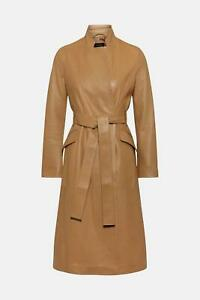 Leather Trench Coat Women Tan Pure Lambskin Size S M L XL XXL 3XL Custom Made