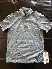 Lululemon Propel Polo Shirt Luxtreme Small Cut Back Stripe Linen White Blue