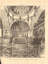 1896 ANTIQUE PRINT- ARCHITECTURE - WORCESTER - BATTENHALL MOUNT CHAPEL, DECORATI