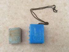 Miniature Quran Koran in small plastic blue cover with chain,SEBAT Basimevi 1949