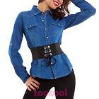 Camisa vaqueros de mujer manga larga denim slim fit casual botones nueva M5607