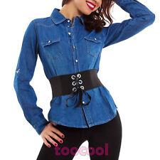Camicia jeans donna maniche lunghe denim slim fit casual bottoni nuova M5607
