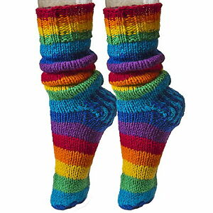 FAIR TRADE NEPALESE FUNKY BOHO WINTER WOOL SLIPPER RAINBOW SOCKS SIZES 8 - 13""
