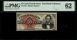 FR-1374 $0.50 Fourth Issue Fractional Currency - 50 Cent - PMG 62 Uncirculated