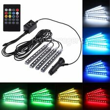 4PCS 9 LEDS RGB SMD LED Strip Light Car Interior Decor 12V + IR Controller AU