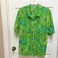 Liz & Me Catherines 4X Button Front Green Blue Batik Floral Top Women's Plus