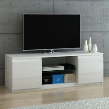 Panana Modern TV Stand Unit Cabinet Sideboard High Gloss 2 Doors Glass Shelves