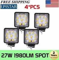 4X 27W LED Work Spot Square Light Bar 12V 24V Offroad 4WD Truck Boat 5D Optical