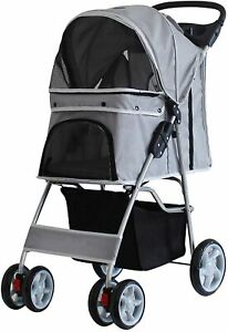 Grey 4 Wheel Pet Stroller Dog Cat Pushchair Pram Buggy Folding Travel Carrier