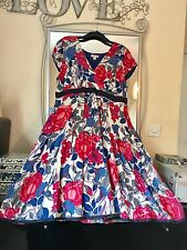 MONSOON FLORAL COTTON SATEEN FIT & FLARE OCCASION DRESS SIZE 20/22 WEDDING