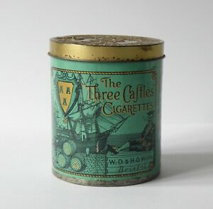 VINTAGE WD & HO WILLS THE THREE CASTLES 50 CIGARETTES TIN.