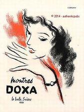 PUBLICITE DOXA MONTRE LE LOCHE SUISSE SIGNE A.J. VEILMAN DE 1951 FRENCH AD RARE
