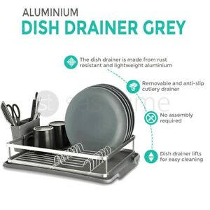 Grey Aluminum Kitchen Dish Drainer Rack Removable Drip Tray Cutlery Holder Tidy
