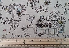 Japanese Fabric - Alice and Friends in Wonderland - Natural - 80%Cotton 20%Linen