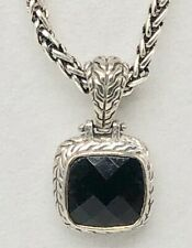 Black Faceted Faux Onyx Cabochon in an Ornate Silver Tone Frame Necklace 21""