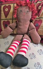 "Vintage  20"" Fabric Raggedy Ann Doll Hand Crafted and Sewn (no clothes)"
