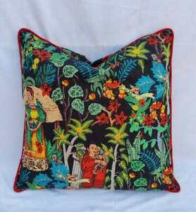 Indian Black Frida Khalo With Red Piping Cushion Cover 20x20 Sofa Pillow Case US