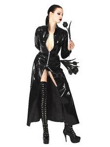 Unisex Style Gothic Black PVC Matrix Look Long Coat From Top Totty Range