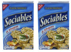 2 Nabisco Sociables Baked Savory Crackers 7.5 oz Each Box