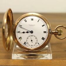 J.W. BENSON LONDON 9K 375 GOLD HALB- SAVONNETTE TASCHENUHR HALF FACE ENGLAND