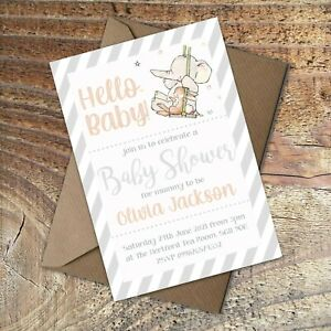 BABY SHOWER INVITATIONS Hello Baby,Grey striped,Cute Elephant Personalised PK 10