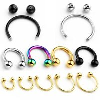 Stainless Steel Horseshoe Bar Lip Nose Septum Captive Ring Piercing 6mm-14mm
